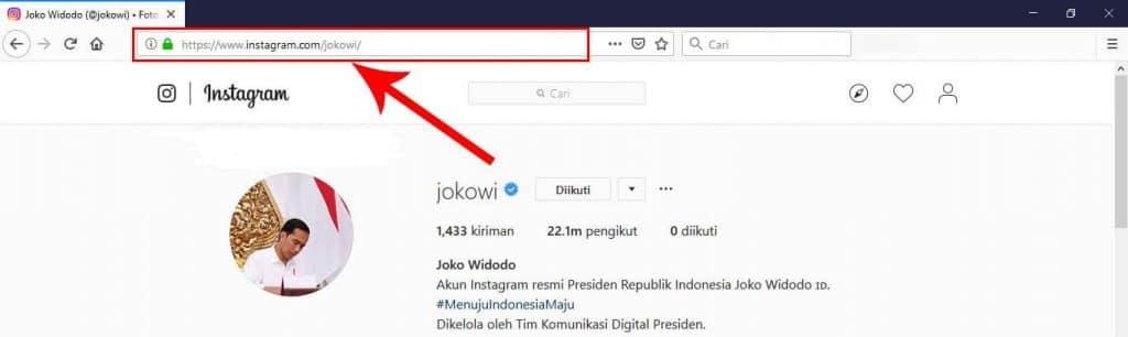 cara mengetahui link instagram